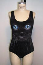 Black Cat Kitten Face Photo Printed Tank Top Body Suit Jumper