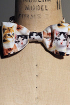Tiny Kitten Cat Faces Printed Cotton Mens Bow Tie