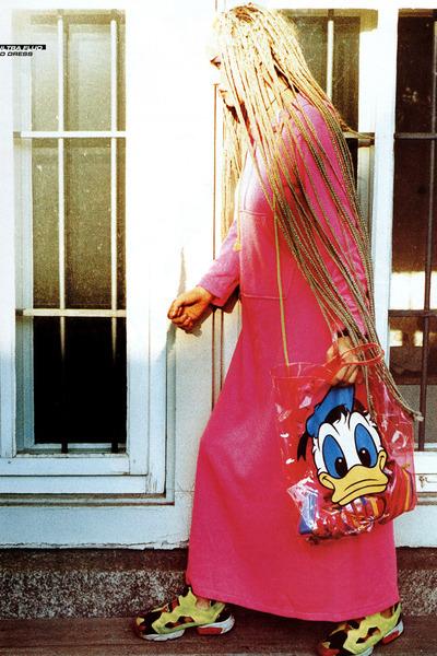 bubble gum IDILVICE dress - sky blue Disney bag - yellow Reebok sneakers