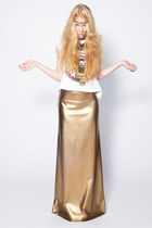 24 Carat Matte Gold 4-Way Stretch Vinyl Goddess Maxi Skirt
