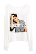 Justin Bieber Boyfriend Photo Printed Loose Slouchy Fitting Sweater Top