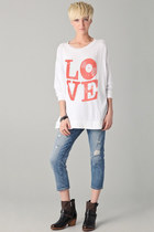 LOVE Vinyl Records Distressed Silk Screen Print Cotton Slouchy Sweater Dress Tun