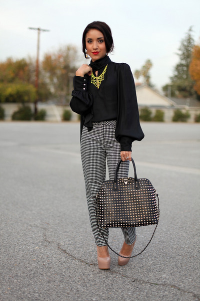 charcoal gray H&M pants - black Zara blouse