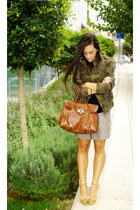 army green Zara jacket - burnt orange Mulberry bag