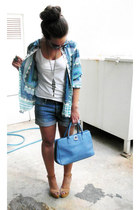 H&M top - Zara shirt - La marthe Paris bag - H&M shorts - Zara wedges