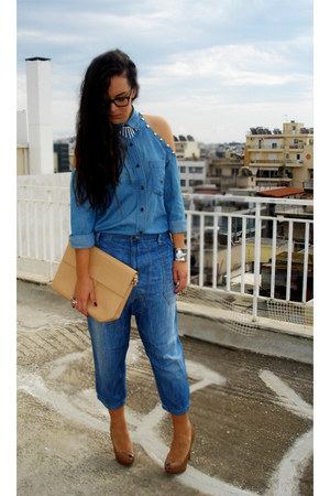 silver Mango bracelet - periwinkle Diesel jeans - nude Zara bag