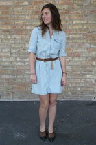 vintage leather boots - chambray JCrew dress - leather JCrew belt