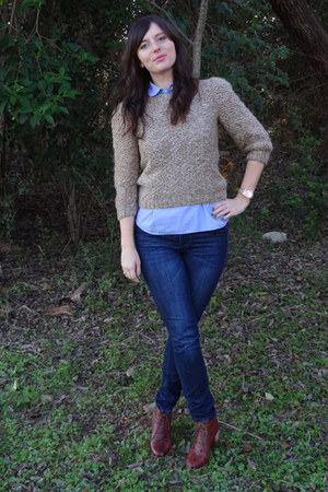 camel thrifted vintage sweater - dark brown madewell boots - blue madewell jeans
