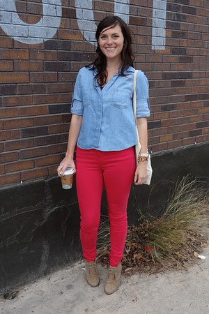 light blue eleven shirt - camel JCrew boots - ruby red Gap jeans