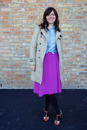 nude seychelles heels - camel banana republic coat - blue chambray JCrew shirt