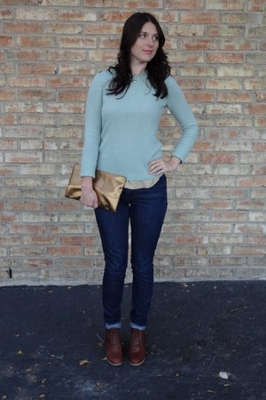 brown madewell boots - blue madewell jeans - light blue JCrew sweater