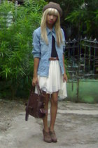 light blue denim uk jacket - brown American Boulevard hat - dark brown bag
