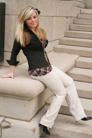 camel flare Express pants - crimson cowl kneck iz byer california blouse