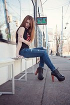 denim Joes Jeans jeans - leather Jeffrey Campbell heels