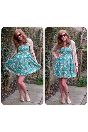 turquoise blue Primark dress - nude H&M cardigan - bronze Topshop glasses