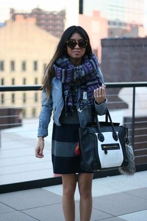 striped Gap dress - motorcycle H&M jacket - glitter Converse sneakers