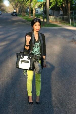 neon PacSun jeans - embellished Zara blazer