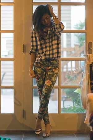 black floral Topshop pants - navy checked H&M shirt