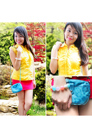 hot pink skirt - sky blue Michaela bag - yellow People are People top