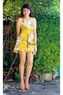 Yellow-dress-gold-heels-black-prema-watch