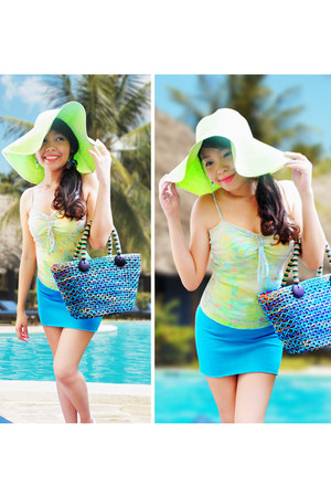 lime green hat - sky blue bag - lime green Petite Monde top - aquamarine skirt
