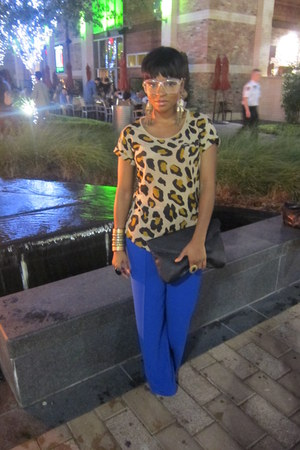 mustard leopard print Zara shirt - blue wide leg random brand pants