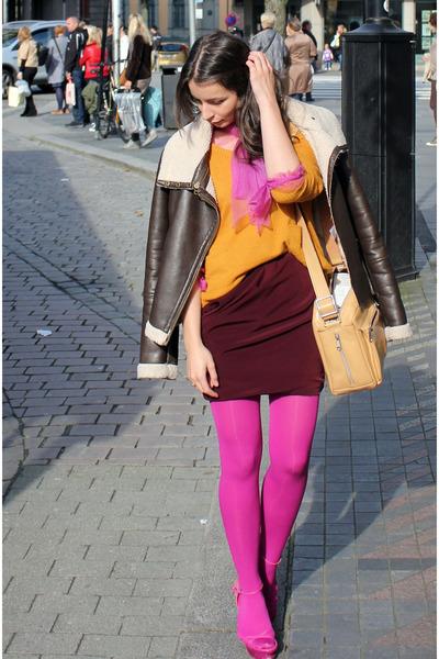hot pink oroblue tights - brown lindex jacket - light orange lindex sweater