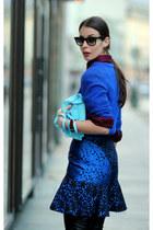 blue Stella McCartney skirt - crimson acne shirt