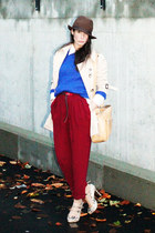 crimson lindex pants - camel Burberry coat - blue handmade sweater