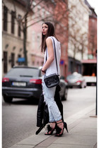 black blkdnm jacket - periwinkle Never Denim jeans - ivory fillipa k shirt
