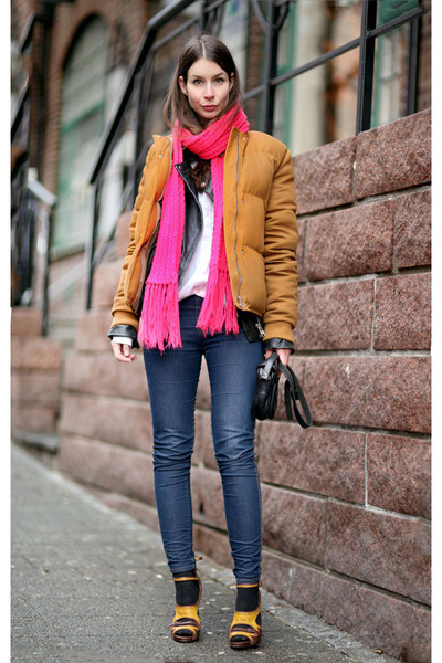tawny acne jacket - hot pink Handknitted scarf - mustard Tabitha Simmons heels