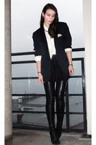 black Stella McCartney boots - navy lanvin blazer - white BikBok shirt