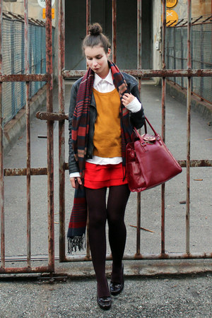 black unknown brand jacket - red H&M dress - mustard lindex sweater