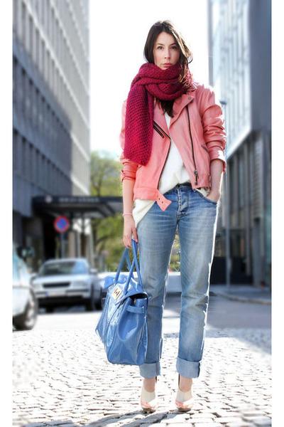sky blue Diesel jeans - ivory H&M Trend sweater - light pink Belnciaga heels