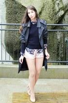 H&M blouse - Ralph Lauren sweater - H&M shorts - Topshop pumps