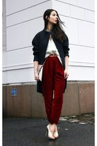 crimson lindex pants - dark gray H&M Trend coat - white H&M Trend sweater