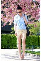 cream Alexander Wang skirt - light blue Samse shirt - black manual purse