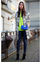 ivory VANESSA BRUNO coat - blue thakoon boots - chartreuse acne sweater