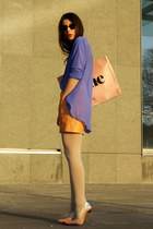 peach acne shirt - light pink acne purse - violet H&M skirt