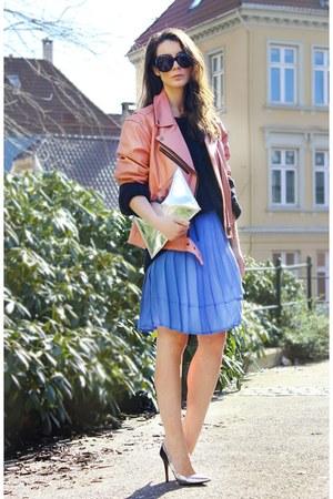 Pink leather jacket - monky dress - Velour sweater - Zara heels