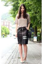 black acne skirt - brown whyred t-shirt - silver Zara heels