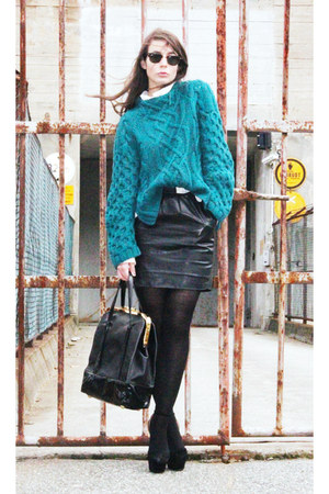 teal H&M sweater - ivory BikBok shirt - black Burberry skirt