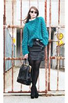 teal H&M sweater - ivory BikBok shirt - black Burberry skirt