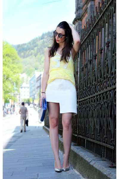 ivory H&M Trend skirt - blue Accessorize purse - light yellow Isabel Marant top