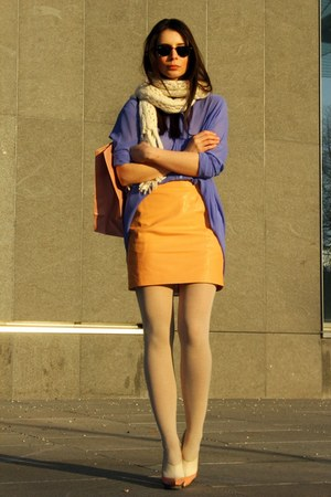 light orange H&M skirt - light purple acne shirt - white balenciaga heels