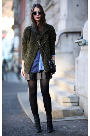 dark green Isabel Marant Etoile jacket - brown acne sunglasses
