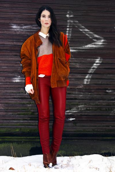 brick red Cubus pants - tawny Alexander Wang boots - tawny vintage jacket