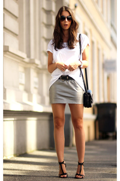 black Ralph Lauren heels - white fillipa k t-shirt - silver fillipa k skirt