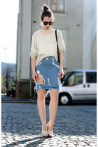 sky blue acne skirt - cream Isabel Marant sweater - light pink balenciaga heels