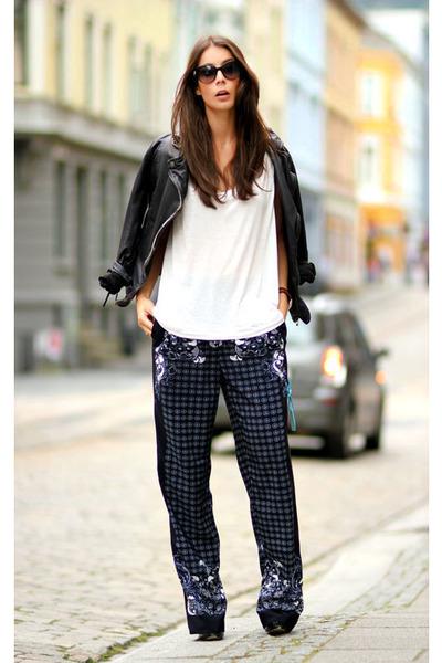 navy H&M Trend pants - black muuba jacket - ivory Alexander Wang top